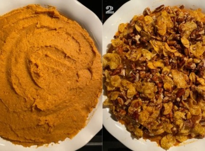 photo on left of plain mashed sweet potatoes in a white baking dish, right photo of mashed sweet potatoes topped with crunchy topping