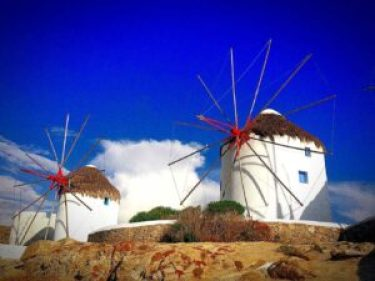 Staying in a windmill is one of the cool things to do in Santorini.