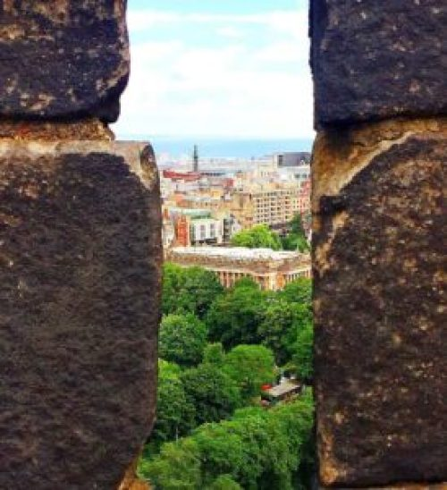 The fantastic view you'll get from the top of Edinburgh Castle.