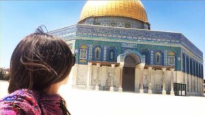 Solo female travel in the middle east to the done of the rock in Jerusalem's muslin quarter.
