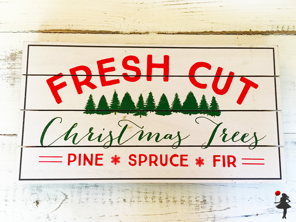 Fresh Cut Christmas Trees Sign.The Girl With The Red Balloon Fresh Cut Christmas Trees