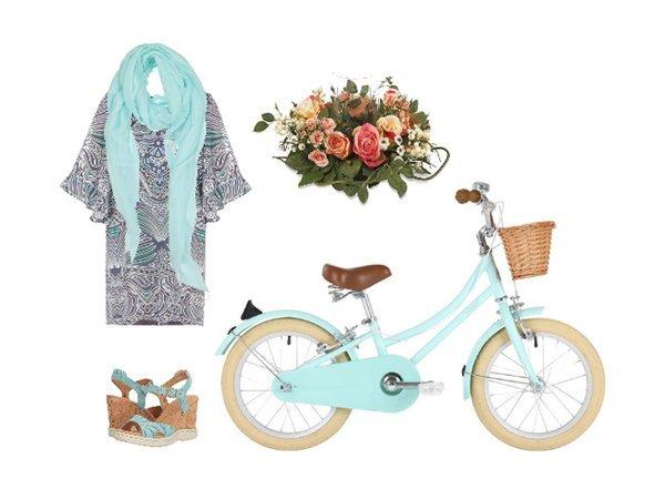 Outfit per andare in bicicletta in stile romantico