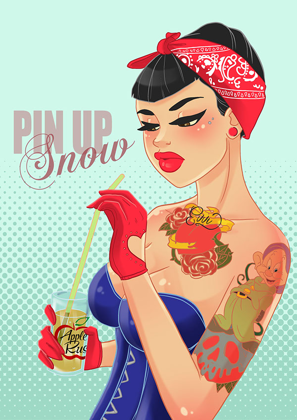 Tattooed Glam, Hipster & Gothic Disney Princesses - Girly Design Blog