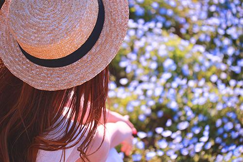 「ネモフィラ」「公園」「女性・女の子」「帽子」「花」「花畑」などがテーマのフリー写真画像