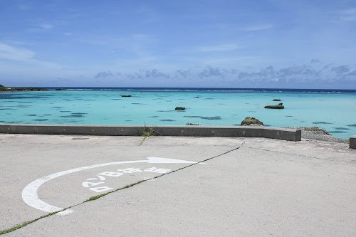 『ロマンB折返』の文字が可愛い!ロマン海道・伊良部島マラソンの折返し地点