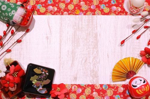 「あけおめ画像」「お重」「ダルマ」「フレーム」「和」「年賀状」「扇子」「獅子舞」「鏡餅」などがテーマのフリー写真画像