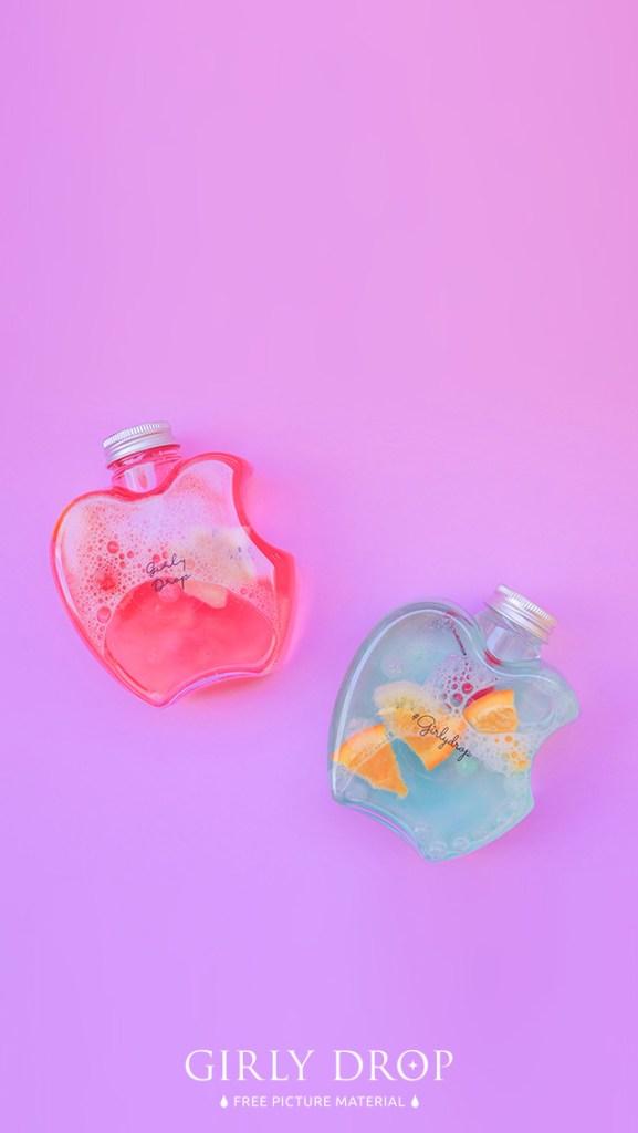 【オシャレなiPhone壁紙】りんごのボトルドリンク