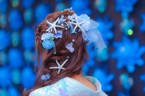 フリー写真素材:[SIDE]浴衣のおしゃれなヘアスタイル『紫陽花マーメイド』