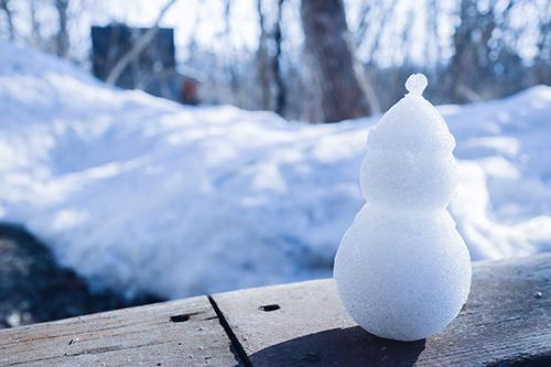 フリー写真素材:雪景色と雪だるま