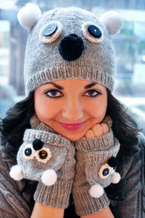"""""""Care to Cuddle"""" Koala Hat and Gloves Set"""