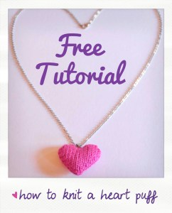 how to knit a heart puff necklace free pattern
