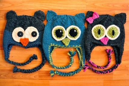 """Owl Be There"" Family of Animal Hats"