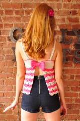 """Bow Crazy"" Chevron Lace Open Back Tank Top with Bow"