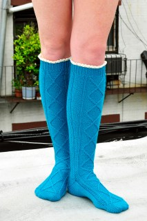 """""""Diamond in the Ruffle"""" Cable Knits Socks"""