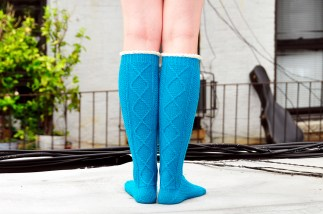 """Diamond in the Ruffle"" Cable Knit Socks"
