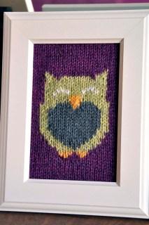 """Owl Friends"" Knitted Wall Art"