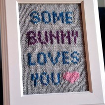 """""""Some Bunny Loves You"""" Knitted Wall Art"""