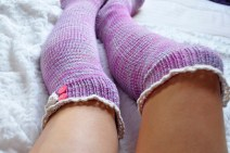 """""""Young at Heart"""" Cable Knit Socks with Lace Placket"""
