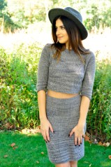 """Crop it Like it's Hot"" Cropped Sweater and Pencil Skirt Set"