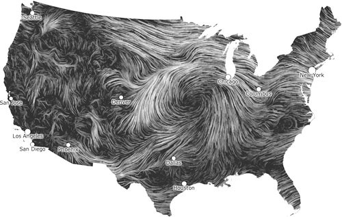 A wind map that could be used in the Site Selection Process for wind turbines