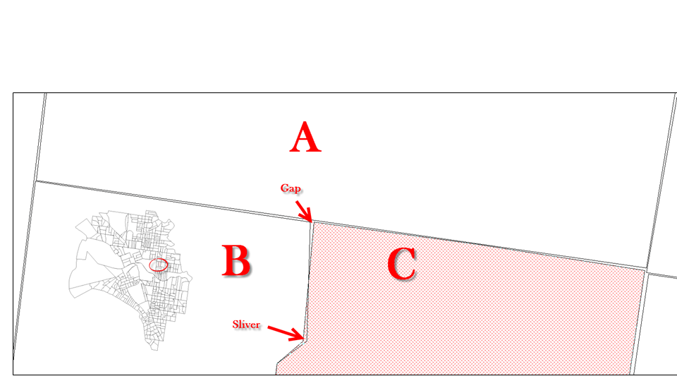 Two common QGIS digitizing errors are slivers and gaps. These are often difficult to see unless you zoom in closely.