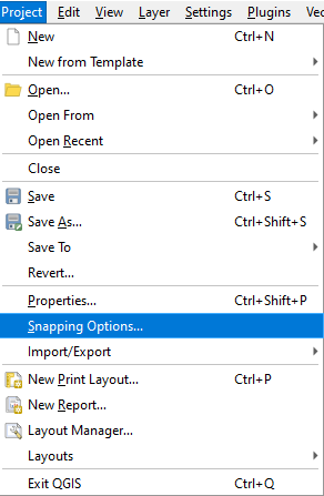 Launch the QGIS snapping options dialog from the Project menu