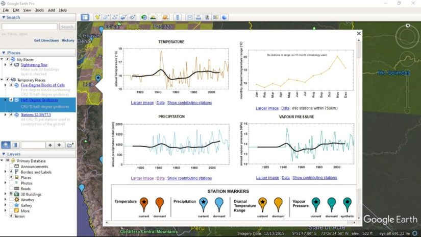 Download temperature and precipitation data from anywhere on Earth using Google Earth