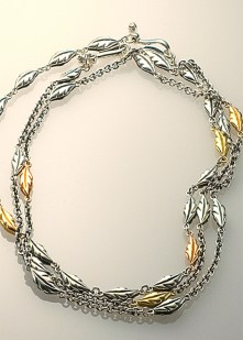 Leaf Wrap, Oxidized Sterling & 18k Gold