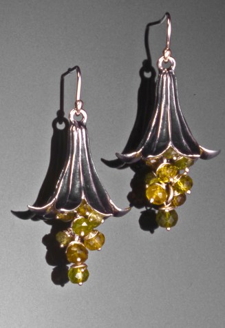 Madonna Lily Earrings, Sterling with Chrysoberyl