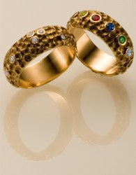 Raj Rings in 18k Rose, Diamonds & Semi Precious Gems