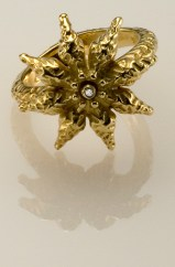 Star Anise Ring, 18k Yellow with Diamonds