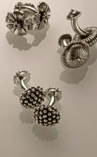 Flower Cufflinks, Oxidized Sterling
