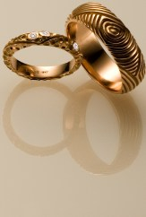 Whorl Wedding Rings, 18k Rose with Diamonds