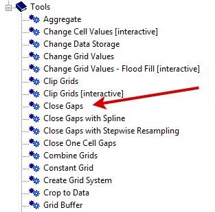 Close Gaps Tool SAGA GIS