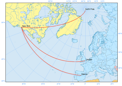 polar projection rhumb line