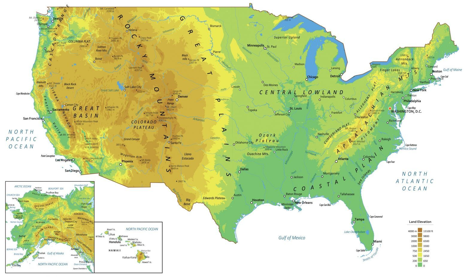 Physical Map Of The United States