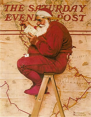 """Santa at the Map"" Saturday Evening Post Cover from December 16,1939 by Norman Rockwell."