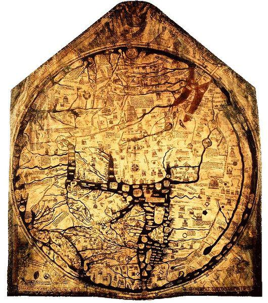 Hereford mappa mundi, ca. 1300.