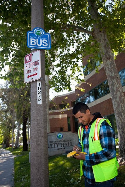 Steve Rodriguez is one of the City's Street Maintenance staff that works with GIS to collect the street sign inventory to fulfill a requirement from the Federal Highway Administration that goes into effect in 2012.