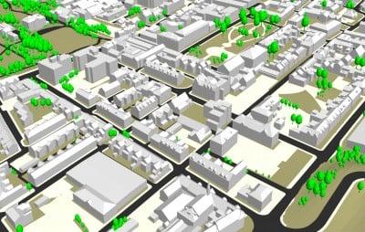 3D model of Warrington, England.