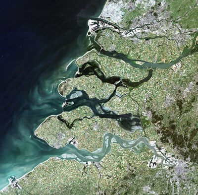 This image of Rotterdam and the surrounding Rhine-Meuse-Scheldt delta was captured by Landsat-5 in 2006. ESA has recently opened over 25 years of Landsat data to users, free of charge.   Credits: USGS/ESA.