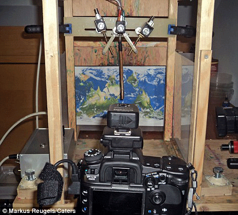 Markus Reugels' set up for capturing his water photography.
