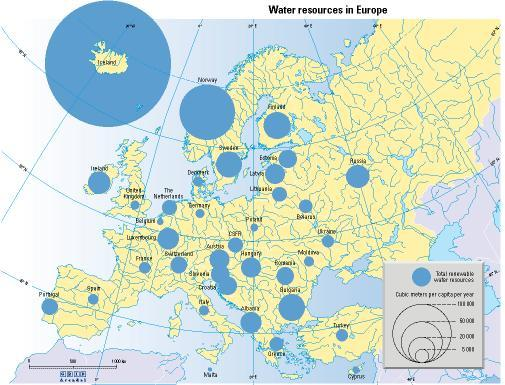 Map of water resources in Europe available per inhabitant, 2006.  Mapped by Philippe Rekacewicz, UNEP/GRID-Arendal