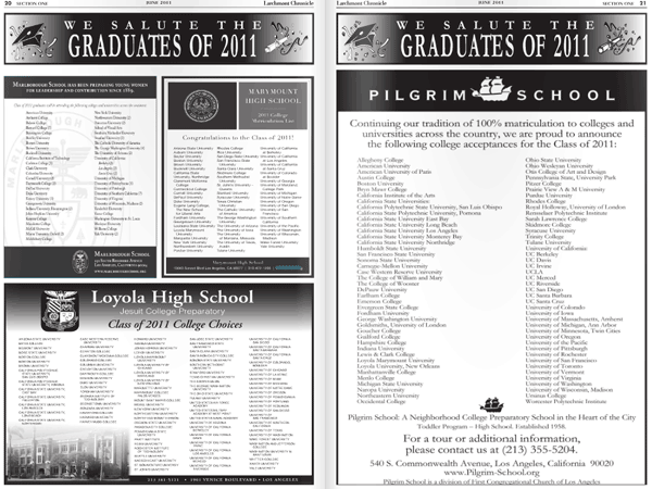 College acceptance lists in the local paper.