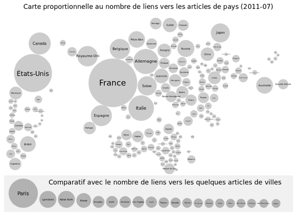 Circular cartogram showing the proportion of French language wiki originations by country from 2007-2011. Created by wiki user Moyogo.