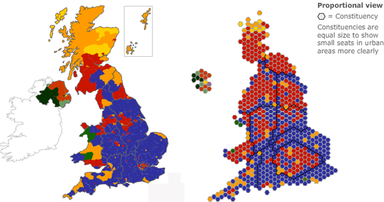 Side by side comparison of a geographic map and hexagon map of the 2010 General Election results. Source: BBC.