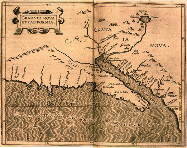 Map from the Whytfliet Atlas showing California as a peninsula. Granata Nova et California. In Descriptionis Ptolemaicae augmentum. Louvain, 1603.