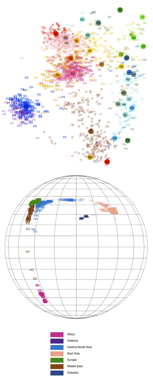 Spatial Ancestry Analysis results. Different colors represent different continents.