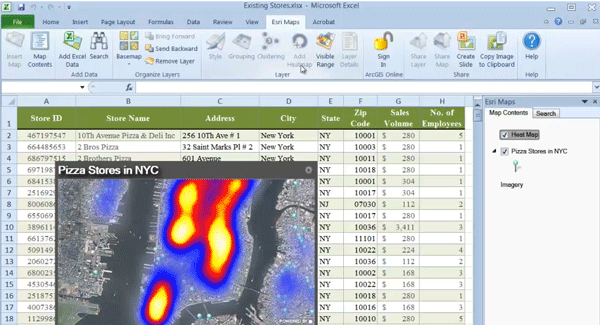 Heat Map in Excel using Esri's Maps for Office.