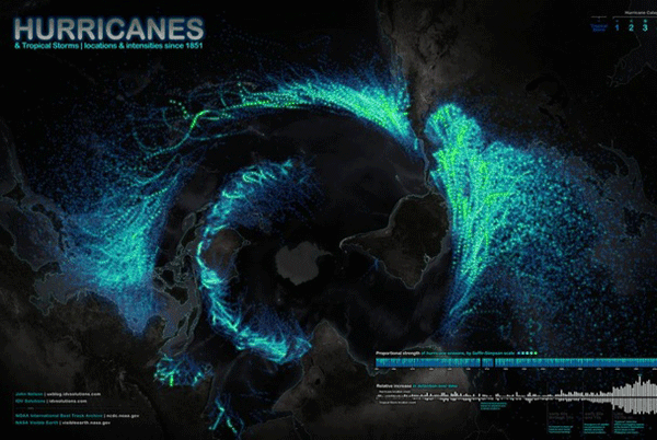 Map of hurricanes and tropical storms since 1851.